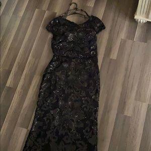 Calvin Klein draped back sequin black formal gown